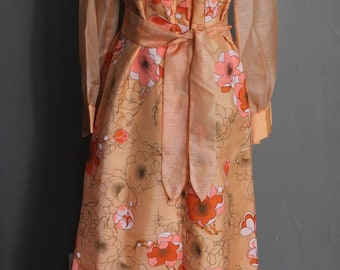 70s Alfred Shaheen Hawaiian Designer Couture Printed Orange Floral Belted Maxi Dress Long Sleeves Button Front