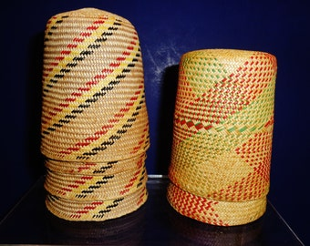 "234-- Set of six 1960s Native American vivid woven cup holders w. patterns of 2x ""diamond""& 4x ""twisting"""