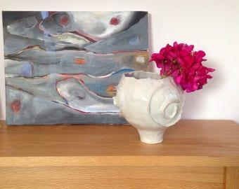 Footed White Porcelain Vase