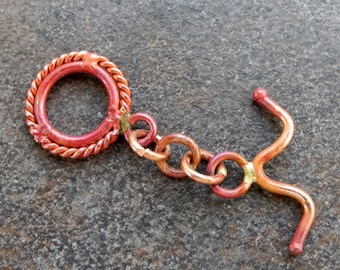 Solid Copper Findings Toggle Clasp Red Patina 22mm