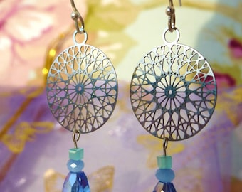 Oriental blue - stainless steel earrings and blue glass drops.
