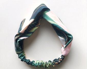 Phyllis Fabric Headband - Turban headband - Tropical Leaves - Boho headband - Womans headband - Adult headband - Pink Green Leaves