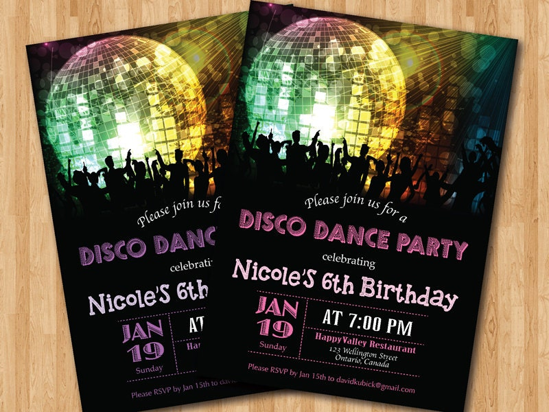 Disco Dance Party Birthday Invitation Girl Birthday Party - Disco party invites templates free