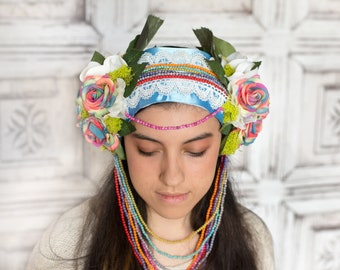 Rainbow Flower Headdress- Fairy Headdress- Fairy Costume- Festival Clothing- Flower Head Piece- Fairy Crown- Witchy- Hand Fasting- Fairytale