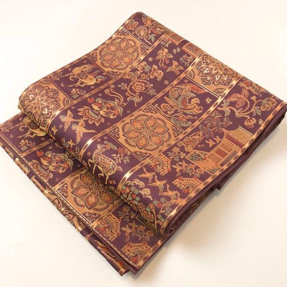 K043010 Japanese Vintage and Beautiful Fukuroobi Obi Gold Kimono Purple Belt dPPqxRn