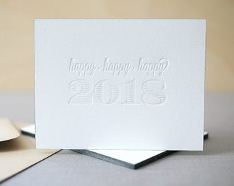 New Years Cards - Letterpress Holiday Cards, Happy New Year Cards, Happy 2018 Letterpress Cards