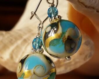 murano glass earrings, Pleiadi Aquamarine color, White and Gold leaf 24 kt, Gustav Klimt, lampwork, handmade.