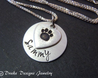 Sterling silver pet memorial jewelry personalized dog memorial necklace pawprint