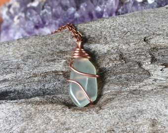 Natural Jade Necklace - Wire Wrapped Stone Jewelry - Real Jade Jewelry - Green Stone Necklace - Gypsy Boho Jewelry - Bohemian Necklace