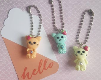 Strawberry Jewel Cat polymer clay charm