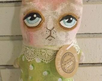 SALE,Bunny,Rabbit Doll,Primitive Art Doll,Cushion Doll,Softie,Art Doll,Shabby Chic,Folk Art Doll,Folk Art Rabbit,Ornie,Whimsical,Cloth Doll