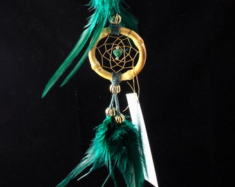 Small Hunter Green Dreamcatcher with an African Jade Heart, 2 inch, Car Dreamcatcher, small dream catcher, boho, tribal, Native American