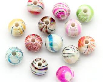 30 stripes set of 8mm acrylic beads