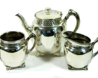 Antique Reed and Barton Silverplate Teapot, Sugar and Creamer