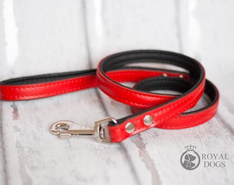 Personalized Leather Red Dog Lead | Soft Leather Dog Lead | Red & Black Dog Leash | Hand Painted Dog Lead |