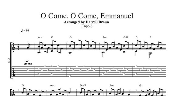 O Come O Come Emmanuel Fingerstyle Guitar