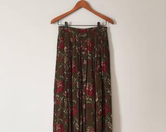 gobelins print maxi skirt | moss green pleated skirt | 1970s floral gobelins skirt