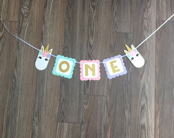 Unicorn One High Chair Banner, Unicorn Gold Glitter Party Decor, Unicorn Banner, Unicorn Party Supplies, Pastel Party, Unicorn Love, Little