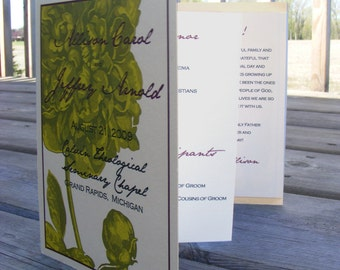Unique Floral Accordion Style Wedding Programs Set of 10+ custom colors and designs available