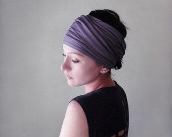 LAVENDER Extra Wide Headband - Dark Lilac Jersey Hair Wrap - Yoga Headband - Lavender Yoga Hair Accessories - Bohemian Head Scarf, Boho