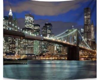 NYC City Bridge Tapestry Large