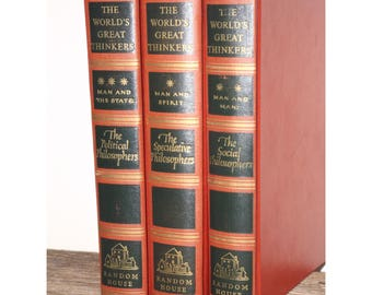 Worlds Greatest Thinkers,1947,set of 3,red black books,great philosophers,Political, Speculative,Social,old red books,mid century
