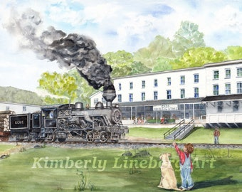 12x18 Train Station painting, Cass WV, Railroad painting, Cass steam engine, Train Depot, watercolor print, Steam Locomotive