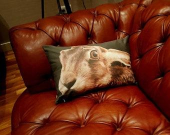 Hare Stare! - Hare design cushion, Hare pillow, Hare Pillow Cover, Hare decorator throw pillows, Hare throw cushion