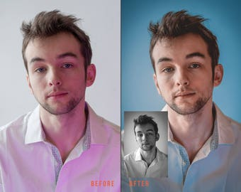Photo editing, change background, color retouching, skin color or black and white