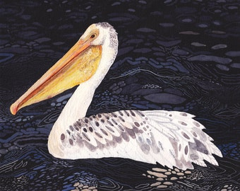 "Pelican at Night- 8"" x 10"" Archival Print"