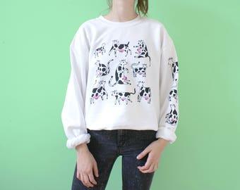 Wit KOEIEN Sweatshirt! Mouw + Rug Print! Twee Kleuren Zeefdruk!