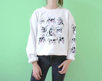 White COW Sweatshirt! Sleeve + Back Print! Two Color Screen Print!