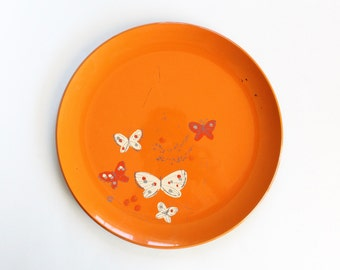 Vintage 1960's Orange Asian Butterfly Motif Round Tray