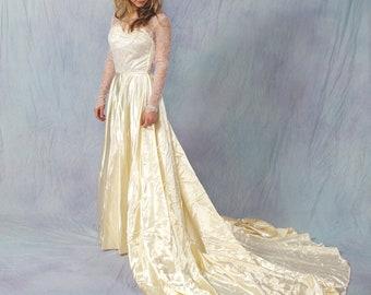 1940s Vintage Satin Lace Wedding Gown