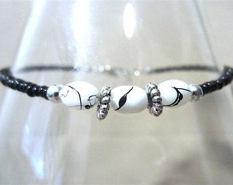 Black & White Glass Bead Anklet, Ankle Bracelet, Seed Bead Anklet, Plus Size Anklet, Beaded Anklet Glass Bead Anklet Handmade Beaded Jewelry