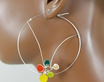 Silver 2 or 4 inch hoop threader statement earrings basketball wives 849