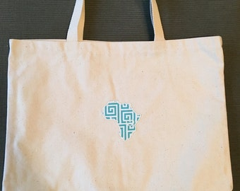 Blue African Tote Bag