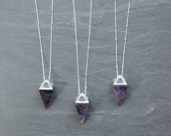 Amethyst Necklace / Amethyst Jewelry / Silver Amethyst Necklace / Gemstone Necklace / Raw Crystal Necklace