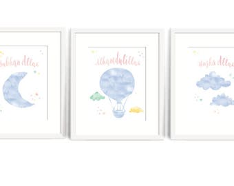 Rainbow Nursery Wall Art: SET OF 3, Islamic Nursery Decor. Alhamdulillah, Subhan Allah and Masha Allah Watercolor 8x10 Print, Muslim Baby