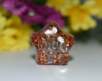 Orgone Energy Orange Star Mini 1 pc -Quartz Crystal, Pyrite, Blue Kyanite