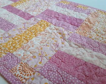 Pink and Tangerine Table Runner, Quilted Table Runner, Pink and Orange