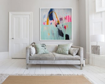 "large abstract PRINT, green, white Giclée print, modern, ""Flamingo"""