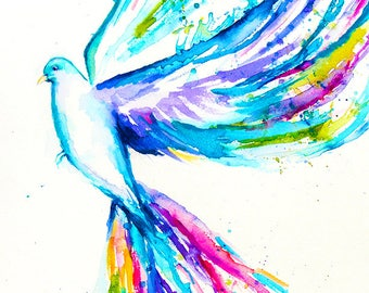 Bird Watercolor Art, Dove Print, Dove Watercolor Painting, Dove Art, Dove Painting, Dove Wall Art, Dove Illustration, Bird Art, White Dove