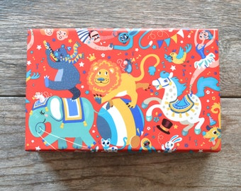 Circus Wrapping Paper, 20 Square Feet - Lion Gift Wrap - Birthday Gift Wrap - Elephant Wrapping Paper - Juggler - Acrobat - Trapeze Artist