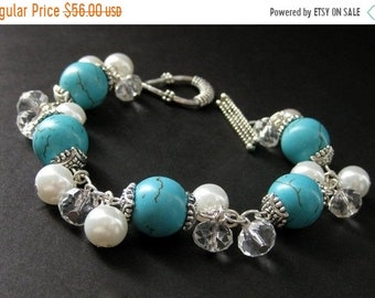 SUMMER SALE Turquoise Howlite Charm Bracelet with White Pearl, Crystal and Silver. Handmade Jewelry by Gilliauna