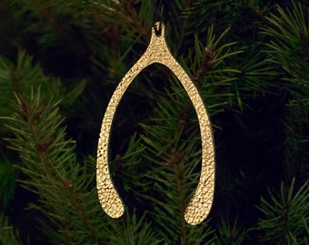 Golden Wishbone // Leather Ornament // Home Decor // Christmas // Gift Tag // Lucky