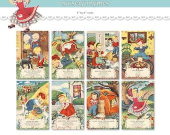 "Printable nursery rhyme cards/ printable PDF / digital collage sheet / 4"" by 6"" / flashcards / postcards / vintage Mother Goose children"