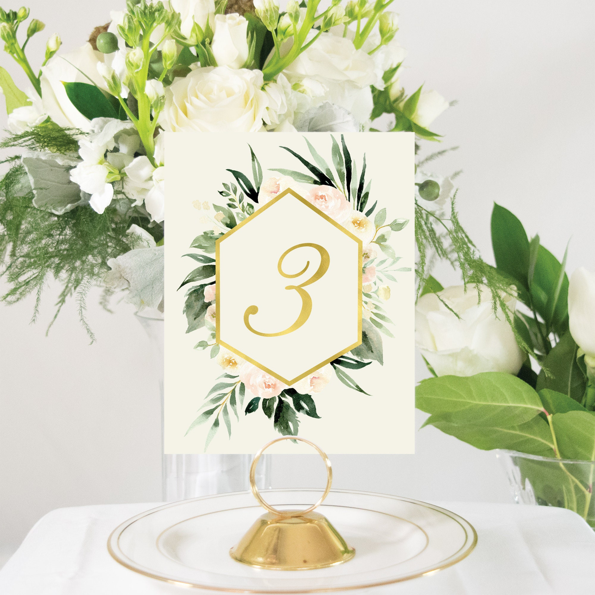 Greenery Blush Pink Ivory & Gold Floral Table Numbers Wedding