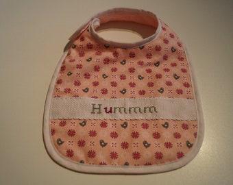 """UM"" handmade cross stitch embroidered bib"