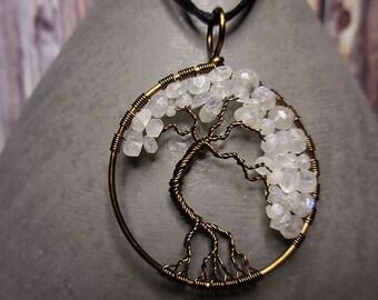 Tree of Life pendant, Gemstone Tree of Life, Moonstone Tree of Life, Vintage Bronze Pendant, Wire Wrap, Gemstone Pendant, Tree of Life